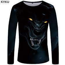 <b>KYKU Wolf T</b> shirt Men Long sleeve shirt Animal Cool New Hip hop ...