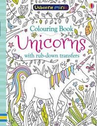 unicorns with rub down transfers mini books colouring book usborne mini books