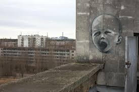 chernobyl nuclear disaster  graffiti of a crying baby on a wall chernobyl power plant chernobyl ukraine