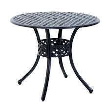 white round outdoor dining table round cast aluminum outdoor dining table black