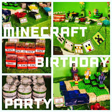 Minecraft Party Decorations Glue Meets Paper Minecraft Birthday Party Cake And Decorations