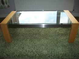solid light oak lounge stainless steel and glass top coffee table excellent condition