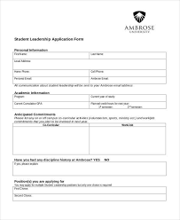 Application Forms Sample Sample Leadership Application Forms 8 Free Documents In Word Pdf