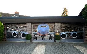 best unique garage doors with plane 3d picture theme plus brick wall and brick paver bined