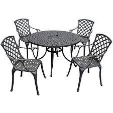 crosley sedona 46 5 piece cast aluminum outdoor dining set charcoal black