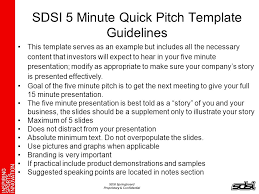 pitch document template sdsi 5 minute quick pitch template guidelines ppt download