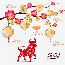 Lunar new year is the most important of chinese holidays. Happy Chinese New Year 2021 Year Of The Ox Flower And Asian Elements With Craft Style On Background Ox Buffalo Asia Png And Vector With Transparent Background For Free Download