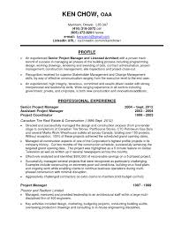 Architectural Project Manager Resume Sample Construction Project