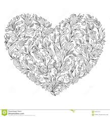 Coloring Page Flower Heart St Valentine's Day Greeting Card Stock ...
