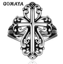 <b>GOMAYA Mens</b> Cross <b>Rings</b> Vintage Rock Punk Hip hop Halloween
