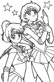 Small Picture Sailor Moon Mars and Sailor Jupiter in Sailor Moon Coloring Page