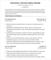 Teacher Resume Template Free Adorable PreSchool Teacher Resume Template Free Word Download How To Make A