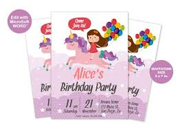 Word Template For Birthday Invitation Unicorn Invitations Unicorn Birthday Invitation Editable Ms Word Template Party Invite Instant Digital Download Edit And Print 5x7 Card