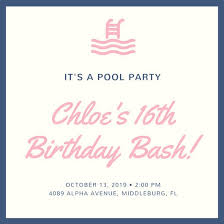 Cream Icon Pool Party Invitation - Templates By Canva