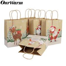 <b>OurWarm 6Pcs</b> Christmas Gift Bags Santa Sacks Kraft <b>Paper Bag</b> ...