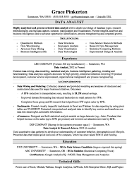 Unique Data Analyst Resume Sample Snatchnet Com