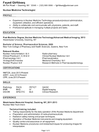 Medical Technology Example Combination Resume Example Nuclea New Nuclear Medicine Technologist