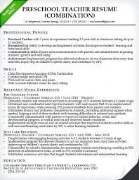 Nursery School Teacher Resume Sample Preschool Teacher Resume Sample