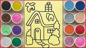 TÔ MÀU TRANH CÁT NGÔI NHÀ HẠNH PHÚC - Colored sand painting full house  (Chim Xinh) - YouTube