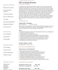sample hr assistant resumes valuebook co