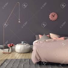 Gemütliches Schlafzimmer In Rosa Und Grau Mit Einem Stilvollen