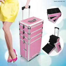 6 in 1 portable cosmetics carry case makeup box with trolley pink crazy s