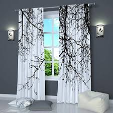 Amazon.com: Black And White Curtains by Factory4me Black Branches ...