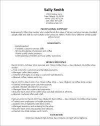 Resume Templates: Coffee Shop Worker