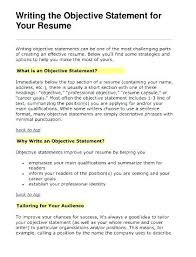 How To Write Resume Career Objective Sample Career Objectives
