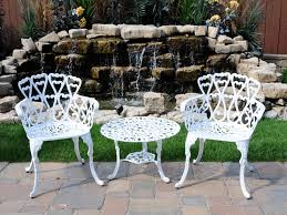white metal outdoor furniture. Unique White Metal Patio Chairs With Cast Aluminum Bistro Set Garden Outdoor Furniture