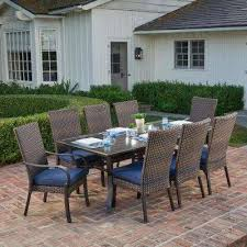 anacortes 9 piece aluminum outdoor dining set with midnight cushions