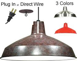 warehouse pendant swag light bronze nickel red 16 w