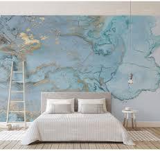 Luxe Gold Print Blauw Textuur Marmeren Behang Muurschilderingen 3d