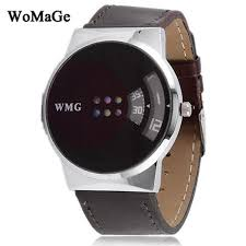 womage futuristic black leather strap fashion uni digital watch