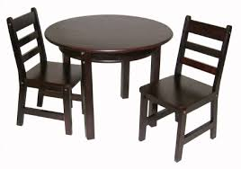 child s round table with shelf 2 chairs espresso finish
