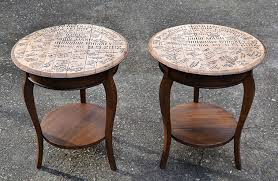 whiskey barrel top end tables hearts