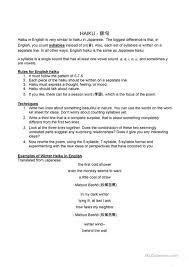 Haiku Pattern Beauteous Haiku Worksheet Free ESL Printable Worksheets Made By Teachers