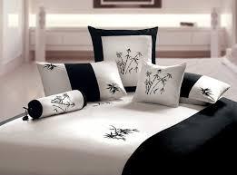 orient sense black and white king duvet 3 piece cover set zen garden embroidered oriental