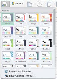 Excel Themes Applying Themes In Word Excel And Powerpoint 2016 For Mac