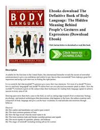 Body Language Meanings Ebooks Download The Definitive Book Of Body Language The Hidden