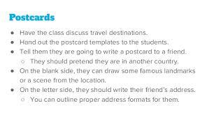 Postcard Formats Postcards Esl Writing Activity