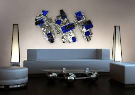 aviator silver blue black abstract 3d metal wall art sculpture pertaining to decorations 1