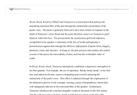 analysis of break break break by tennyson a level english  document image preview