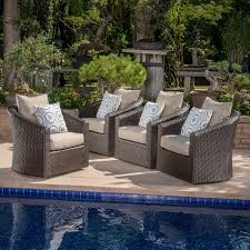 modern outdoor patio furniture. Dierdre Modern Outdoor Wicker Swivel Club Patio Chair With Cushions Furniture H