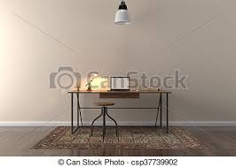 Work desk in empty room with big wall in background 3d stock