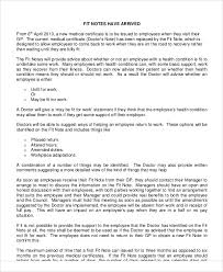 Doctor S Statement For Work Fit Note Sample 8 Examples In Word Pdf
