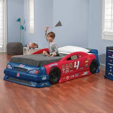 step2 stock car convertible toddler to twin bed red and blue com