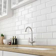 kitchen wall tiles. Bevelled White Gloss Subway Tile 75x150mm Kitchen Wall Tiles