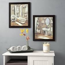 bathroom 2 piece framed painting print set on canvas on bathroom wall art prints with bath laundry wall art