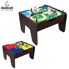 2 in 1 activity table with and train set espresso kidkraft wooden board